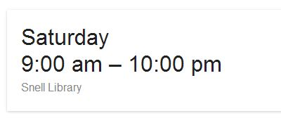 Google search for library hours