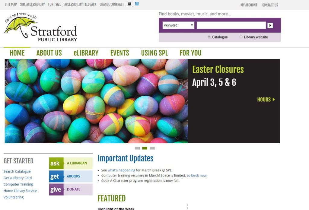 Stratford Public Library homepage